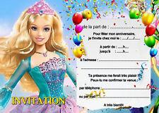 5 - 12 ou 14  cartes invitation anniversaire princesse réf 448