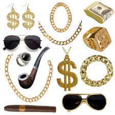 Rapper Accessoires Goldschmuck Goldkette Fasching Karneval Dollar Zuhälter Neu