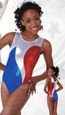 NWT Axis Gymnastic DanceTank Leotard Foil Red White Blue Ladies/Child 97047