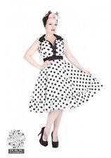 H&R LONDON WHITE BLACK BIG DOT COCKTAIL SWING 50s PINUP PUNK VINTAGE PROM DRESS