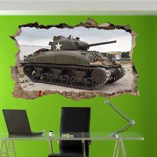 Army Militare Sherman Adesivi Murali 3D Arte Murale Camera Ufficio Negozio Decor VW8