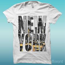 T-Shirt Uomo Scritta New York Sfondo Paesaggio Idea Regalo