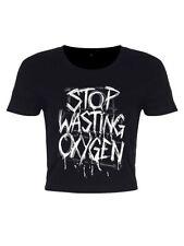 Stop Wasting Oxygen Women's Black Crop Top