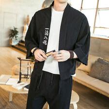 Japanese Embroidery Men Kimono Jacket Loose Coat Linen Cotton Cardigan Outerwear