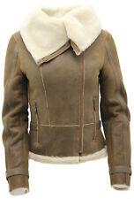 Women's Short Brown Merino Sheepskin Aviator Leather Jacket