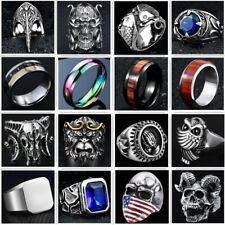 Skull Man Ring 316L Stainless Steel Hoop Steam Ram Men Punk Ring Gothic Band