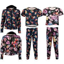 Girls Floral Cropped Tops Leggings Sweatshirt Hooded Kids Leaf Print Summer New