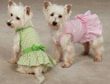 Miss Daisy Dog Dress  pet dresses w/ bow pink green cotton