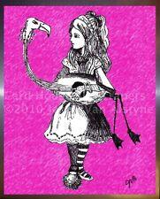 Alice in Wonderland art framed print, Tim Burton Inspired - Alice & Flamingo