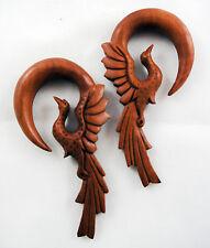 """Pair Handmade Organic Sawo Wood Hoop Phoenix Ear Gauge Hangers Plugs 4G-1/2"""" US"""