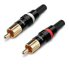 HICON HI-CM03 Cinch RCA Löt Stecker mit Zugentlastung, Feder rot weiß | NTL RED