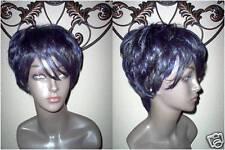 HARLEM 125 Short Black Tapered Wig w/Blue Streaks/Highlights.