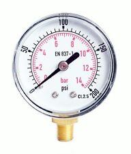Pressure Gauge 50mm Dial 1/8 BSPT Vertical 15,30,60.100,160,200, 300 PSI & Bar.