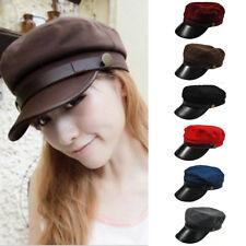 Men Women Classic Military Army Cadet Baseball Cap Hat Faux Leather Trucker Hats