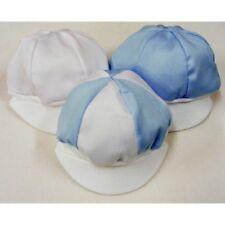 NEW Baby White / Blue Pique Cotton Cap Hat - SUMMER Made in UK 0-6 MONTHS