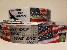 "Grosgrain Ribbon God Bless Our Veterans Freedom Isn't Free Some Gave All, 1"""