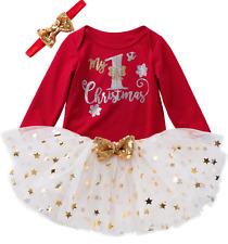 Newborn Baby Girls Infant My 1st Christmas Romper Skirt Dress Headband Outfits