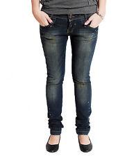 Vsct Damen Stretch Jeans Hose Röhrenjeans Hüftjeans Röhre Slim Denim Used blau