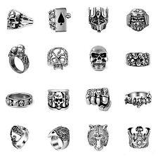 Skull Ring Made of Stainless Steel Biker MC Gothic Eagle Tiger Spirit Skellett
