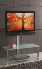 MEDIO PORTA TV   LCD HI TECH  A 2 RIPIANI  VETRO  NERO   E COLONNA ROTANTE