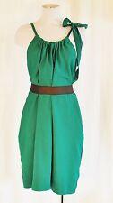 VTG 90s XL Green  BoHo Hippie Mod CHIC Summer Party Sun Dress w/ pockets