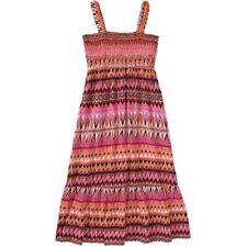 Faded Glory Girls' Smocked Challis Maxi dress 100% rayon red tones