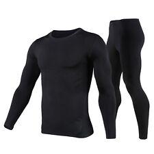 Men's Fleece Lined Thermal Underwear Set Motorcycle Skiing Base Layer Winter War
