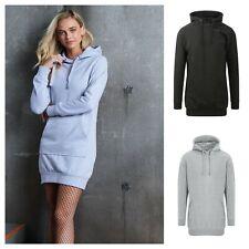 Womens Ladies Girls Hooded Jumper Dress Hoodie Hoody Longline Sweatshirt Dress