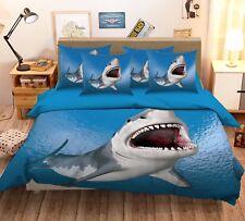 3D Sea Shark 279 Bed Pillowcases Quilt Duvet Cover Set Single Queen King Size AU