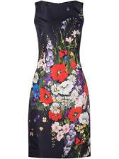 $2290 New Oscar de la Renta Navy Blue Floral Bouquet-Print SILK FAILLE DRESS 0 2