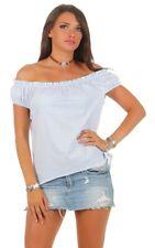 Damenbluse Shirt Tshirt Carmenshirt Bandeau Rüschen Kurzarm Bluse gestreift