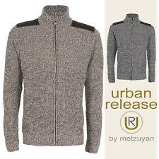 Mens Knitted Jumper Twisted Yarn Full Zip Sweater High Collar Winter Warm M-2XL