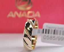 Trauring Gold 585 - Hochglanzpoliert mit sandmattiertem Muster - Diamantiert
