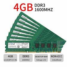 32GB 8x 4GB 2GB PC3-12800U DDR3 240Pin Intel DIMM Desktop RAM For Crucial LOT BT
