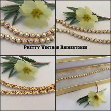 "Vintage Tennis Bracelet Austrian Rhinestones Crystal + Crystal AB Goldtone 8"""