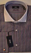 NWT Hugo Boss Black Label By Hugo Boss Sharp Fit Stripe French Cuffs Dress Shirt