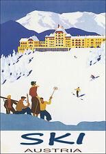 ART POSTER ski Autriche Voyage Rétro Imprimer