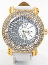 King Master Men's CZ Stone Bezel Gold-tone Stainless Steel Leather Quartz Watch
