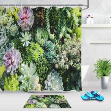 Succulent Plants Tropical Bathroom Polyester Fabric Shower Curtains Set 12 Hooks