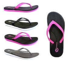 New Women's UltraSoft Beach Sandals Two Toned Flip Flops Flexible Comfort--318