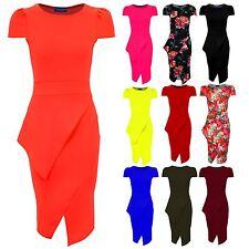 Ladies Asymmetric Neon Pencil Bodycon Knee Length Midi Women's Party Tube Dress