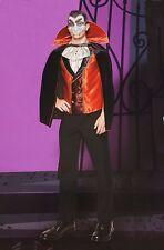 Halloween ADULT MENS Fangtastic Vampire Costume Mask Black Cape Collar NEW H16