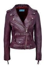 New BRANDO Ladies Cherry Biker Style Motorcycle Cruiser Lambskin Leather Jacket