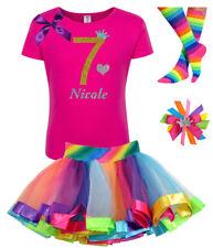 Bubblegum Divas Girls 7th Birthday Shirt Rainbow Party Outfit Personalized Set 7