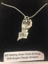 Soul Puño PP-C emblema en un collar de plata esterlina 925 16,18,20,26,30