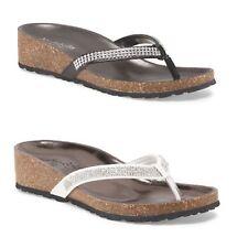 a786424f8c295 ITALIAN SHOEMAKERS Made In Italy Cork Heel Wedge Thong Sandal RHINESTONES  NEW