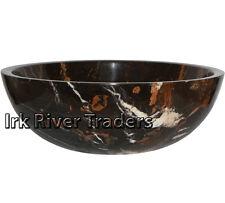 Marble Stone Sink Bathroom Cloakroom Vessel Basin Wash Bowl Bath Round Black IR8