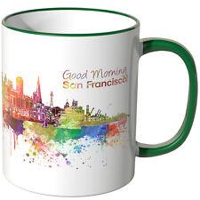 "WANDKINGS Tasse, Schriftzug ""Good Morning San Francisco!"" mit Skyline ve. Farben"
