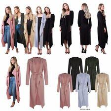 Womens Ladies Maxi Midi Long Sleeved Belted Waterfall Duster Dress Jacket Coat