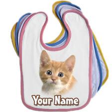 Bavoir bébé personnalisé chaton-Choix de 4 / n'importe quel nom / edge couleur * grand cadeau *